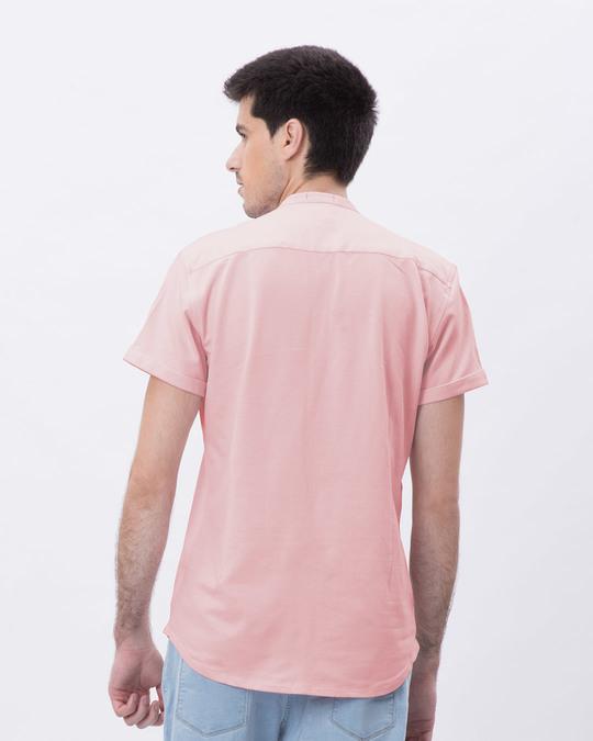 Shop Fiji Pink Mandarin Collar Pique Shirt-Back