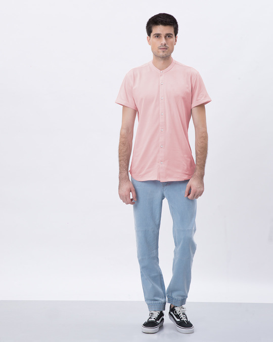 Shop Fiji Pink Mandarin Collar Pique Shirt