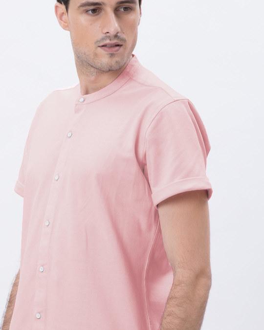 Shop Fiji Pink Mandarin Collar Pique Shirt