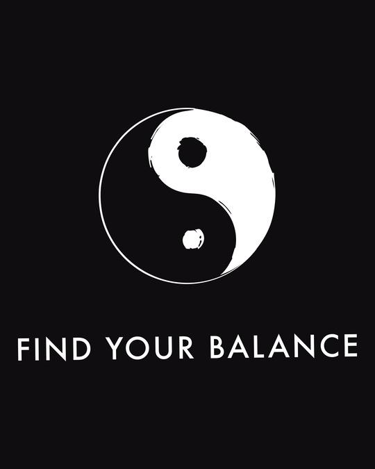 Shop Find Your Balance  Half Sleeve Printed T-Shirts Black