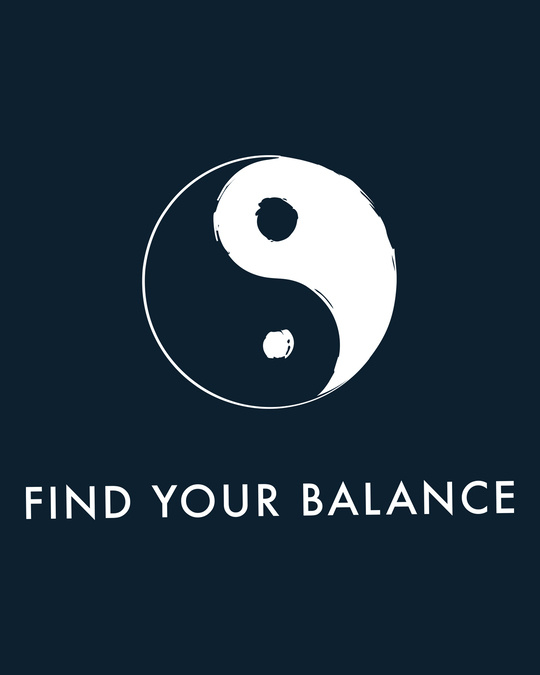 Shop Find Your Balance Half Sleeve Printed T-Shirts Navy Blue-Full