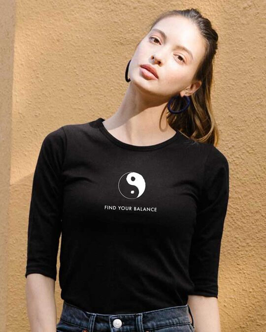 Shop Find Your Balance  Round Neck 3/4 Sleeve T-Shirts Black-Front