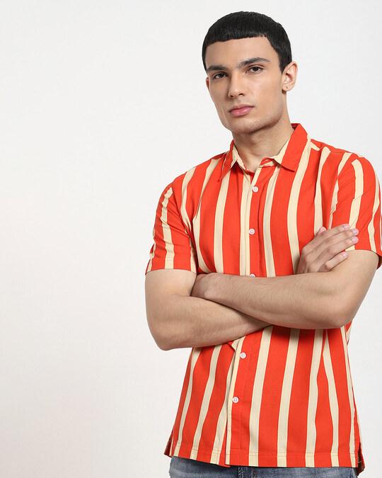 Shop Fire Whirl Dot And Stripe AOP Half Sleeve Shirt-Back