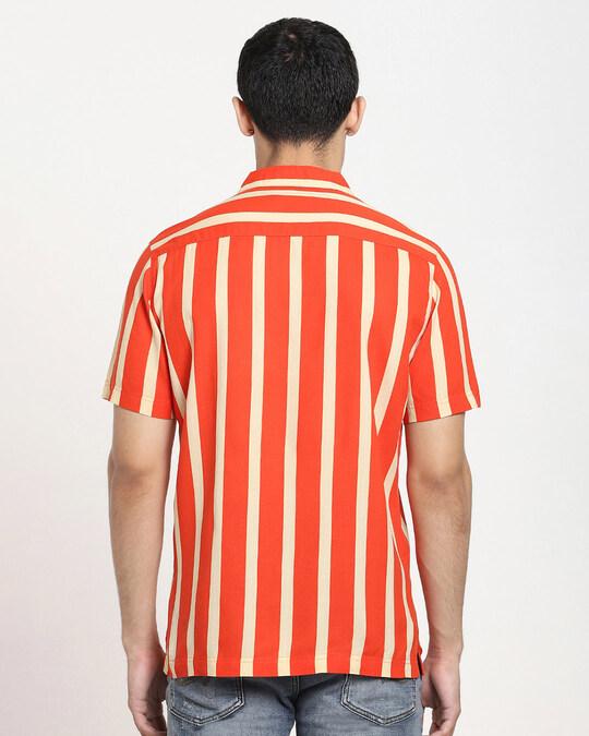 Shop Fire Whirl Dot And Stripe AOP Half Sleeve Shirt-Full