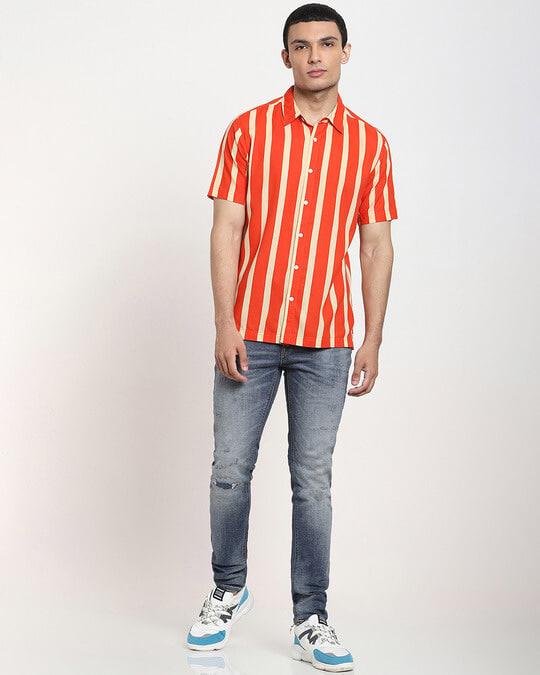 Shop Fire Whirl Dot And Stripe AOP Half Sleeve Shirt