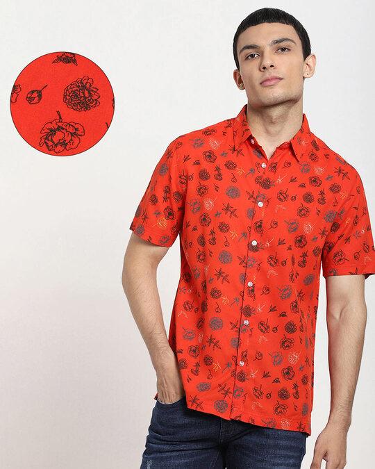 Shop Fire Whirl Floral AOP Half Sleeve Shirt-Front