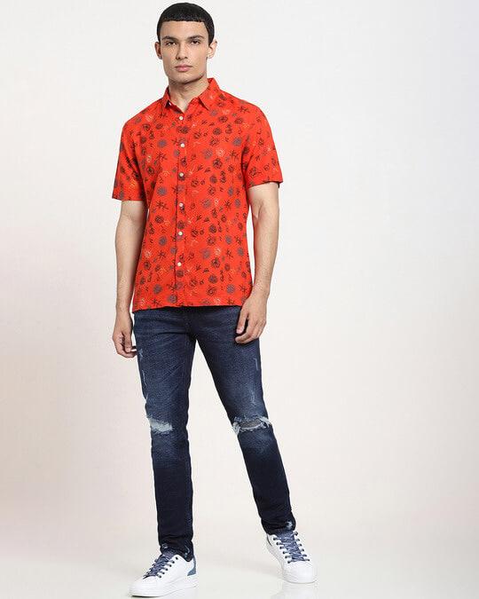 Shop Fire Whirl Floral AOP Half Sleeve Shirt