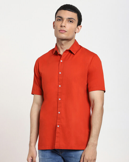 Shop Fire Whirl Half Sleeve Solid Shirt-Front