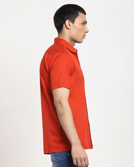 Shop Fire Whirl Half Sleeve Solid Shirt-Back