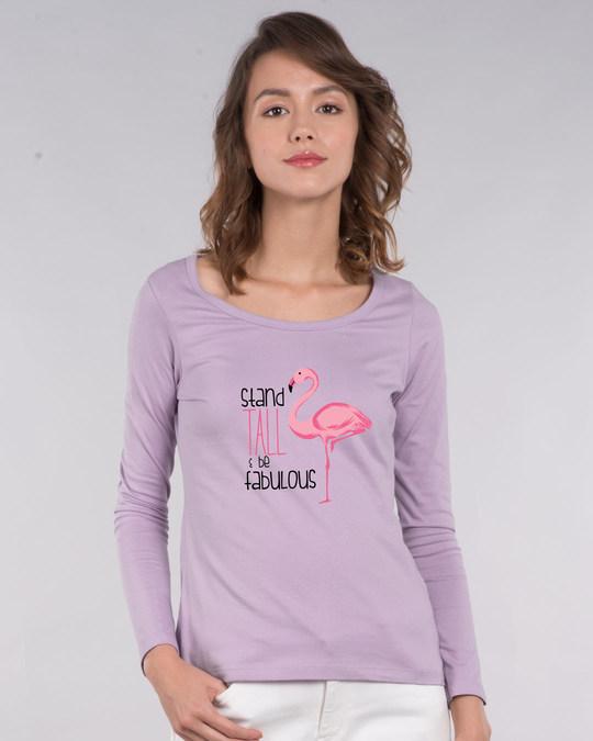 Shop Flamingo Fabulous Scoop Neck Full Sleeve T-Shirt-Front