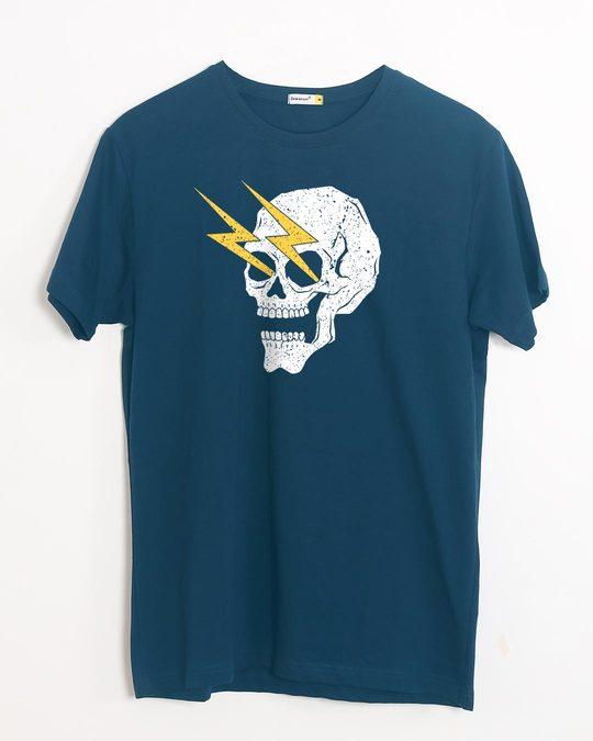 Shop Flash Skull Half Sleeve T-Shirt-Front