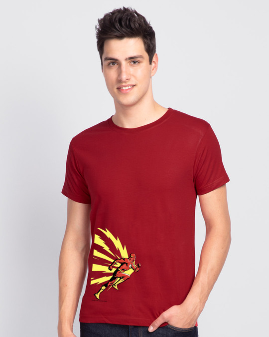 Shop Flash Thunder Half Sleeve T-Shirt  (FL) Bold Red-Back