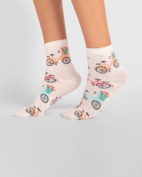 Shop Women's Floral Bicycle Ankle Length Socks-Front