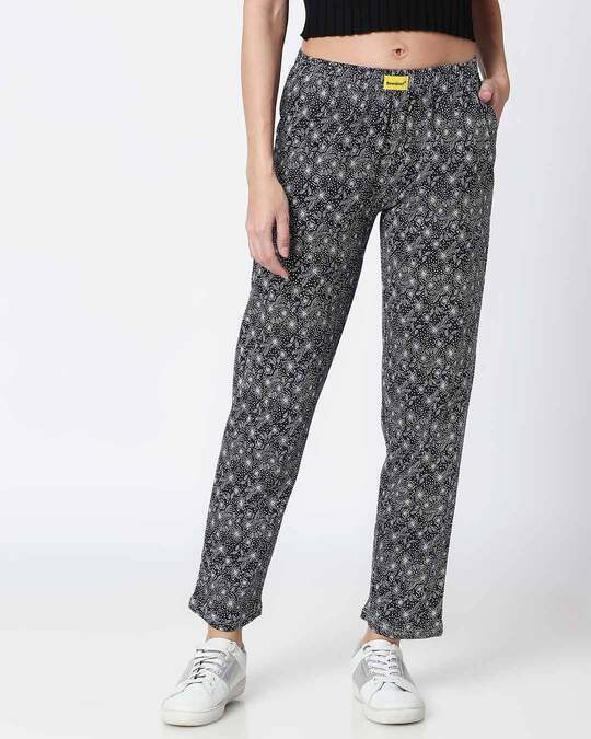 Shop Floral Pattern Blue Knitted Pyjamas-Front