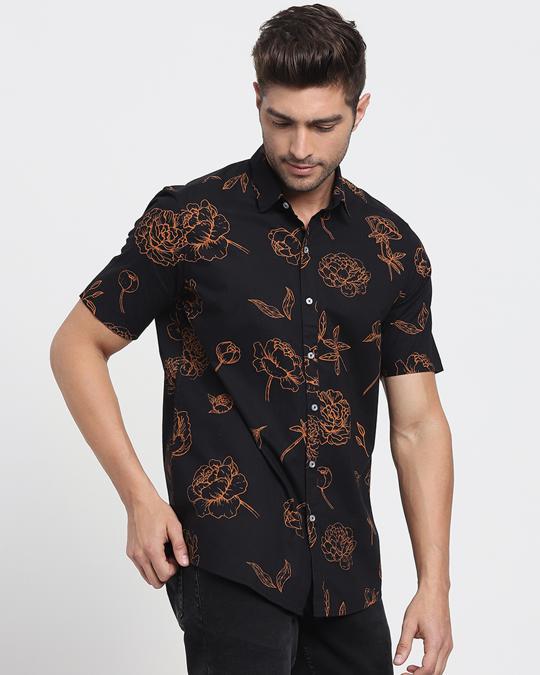 Shop Floral Rose Black Half Sleeve Shirt-Back