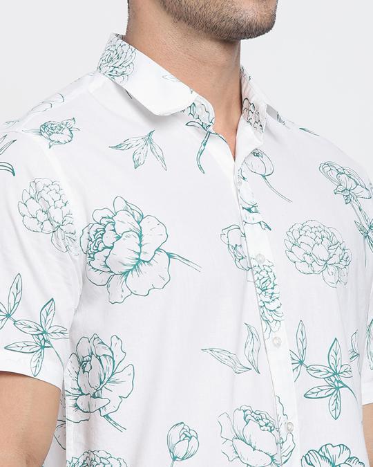 Shop Floral Rose White Half Sleeve Shirt