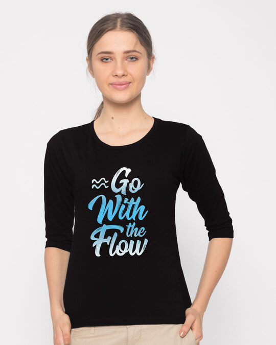 Shop Flow Round Neck 3/4th Sleeve T-Shirt-Front