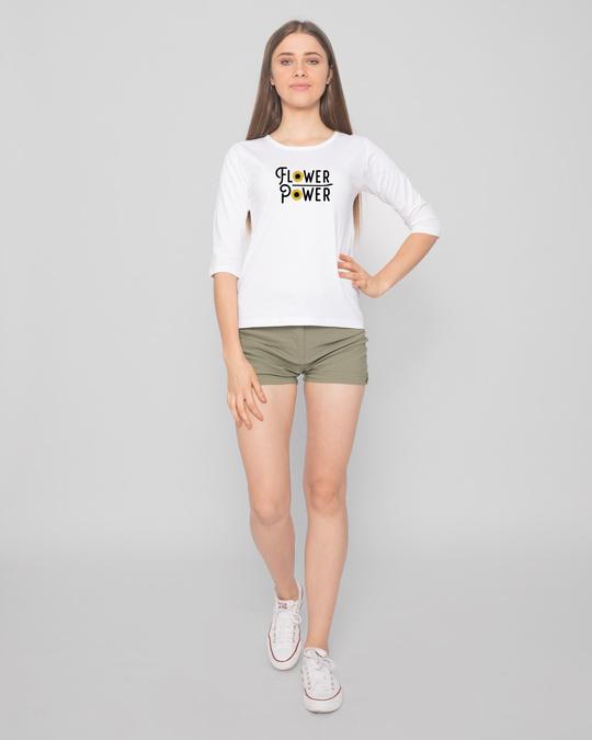 Shop Flower Power Women's Printed Round Neck 3/4 Sleeve T-Shirts-Design