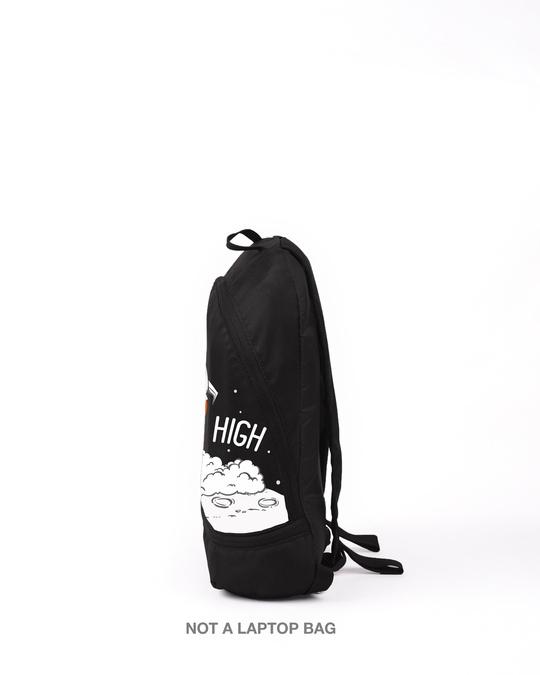 Shop Fly High Rocket Printed Small Backpack Black-Back