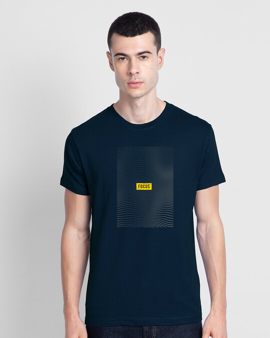 Shop Focus Abstract Half Sleeve T-Shirt Navy Blue-Front