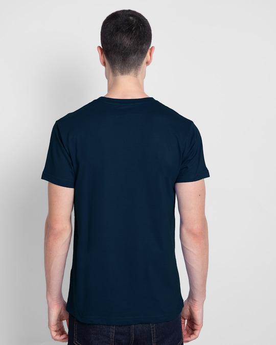 Shop Focus Abstract Half Sleeve T-Shirt Navy Blue-Back