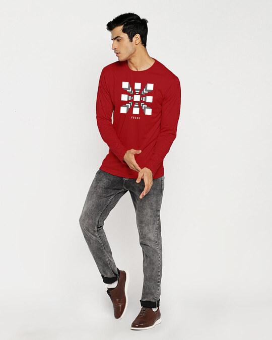 Shop Focus Blocks Full Sleeve T-Shirt Bold Red-Full