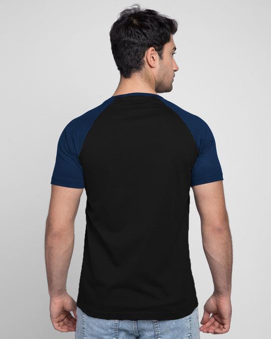 Shop Focus Blocks Half Sleeve Raglan T-Shirt Navy Blue-Black-Back