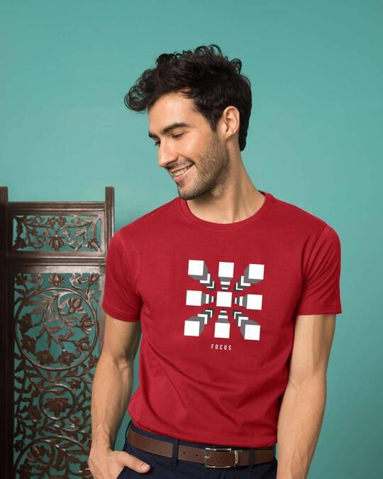 Shop Focus Blocks Half Sleeve T-Shirt Bold Red-Front