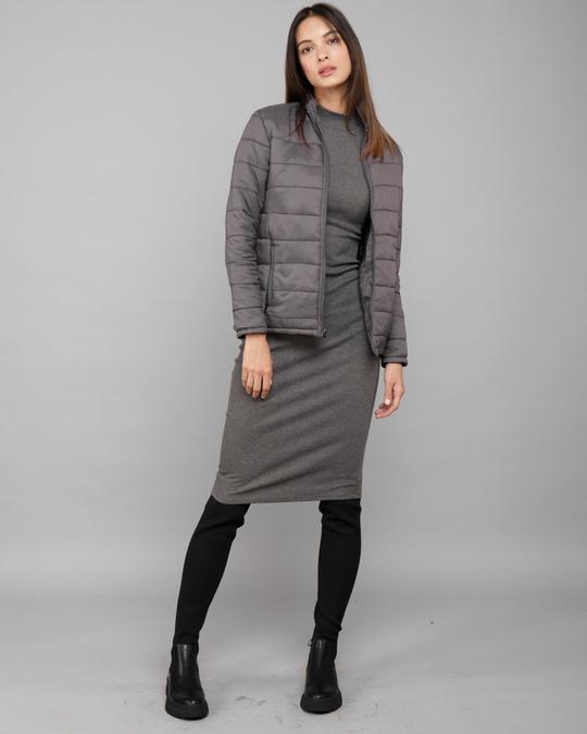 Shop Fog Grey Plain Puffer Jacket-Full