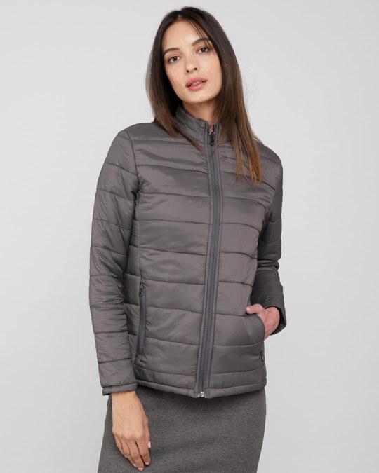Shop Fog Grey Plain Puffer Jacket-Front