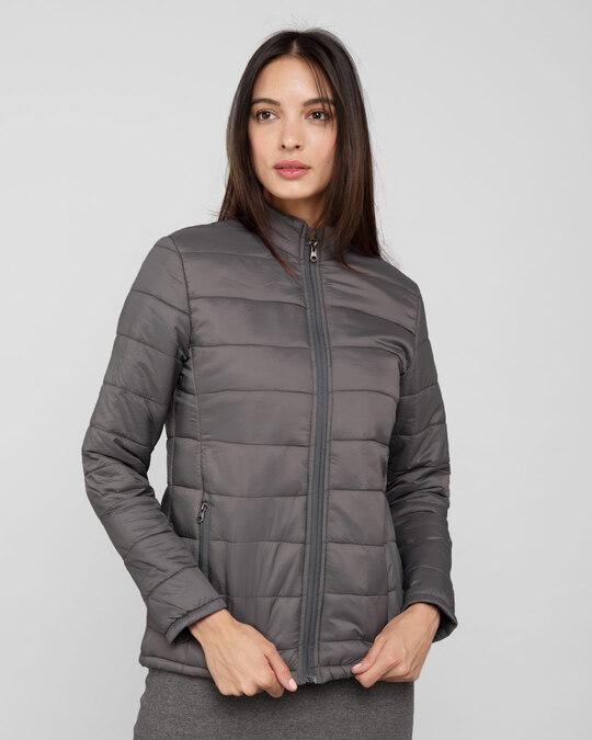 Shop Fog Grey Plain Puffer Jacket-Back