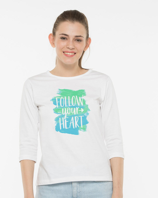 Shop Follow Your Heart Round Neck 3/4th Sleeve T-Shirt-Front