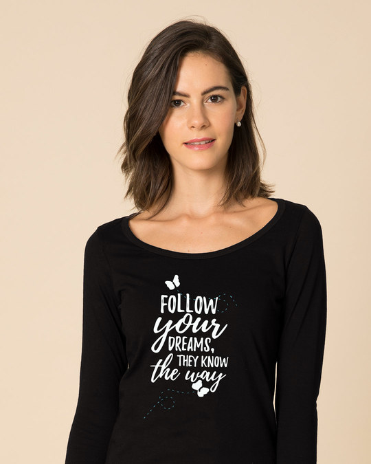 Shop Follow Your Way Scoop Neck Full Sleeve T-Shirt-Front