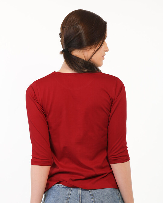 Shop Food Before Dudes Round Neck 3/4 Sleeve T-Shirt (DL) Bold Red-Back
