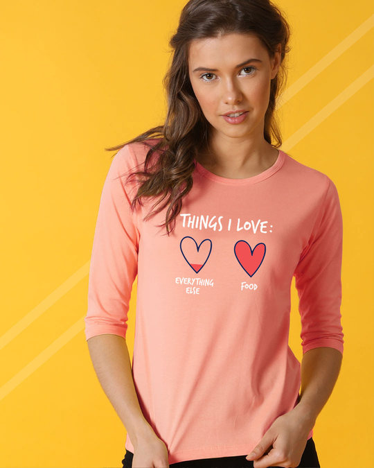 Shop Food Lover Round Neck 3/4th Sleeve T-Shirt-Front