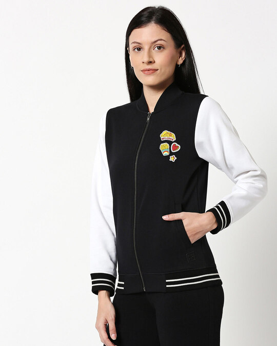 Shop Food Pop Badge Varsity Bomber Jacket-Back