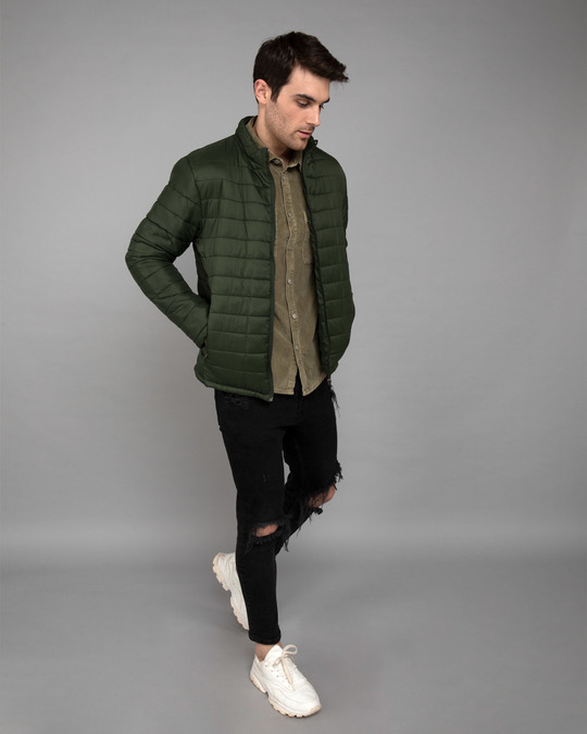 Shop Forest Green Plain Puffer Jacket