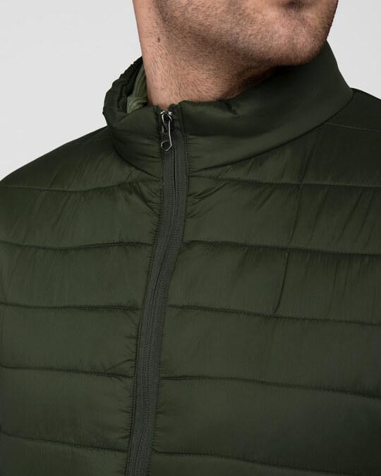 Shop Forest Green Plain Puffer Jacket