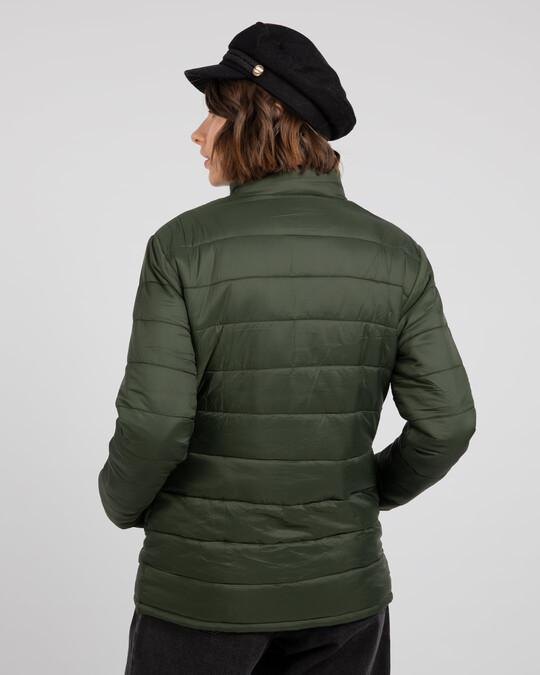 Shop Forest Green Plain Puffer Jacket-Design