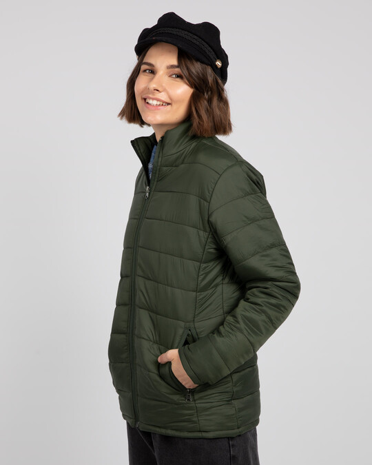 Shop Forest Green Plain Puffer Jacket-Back
