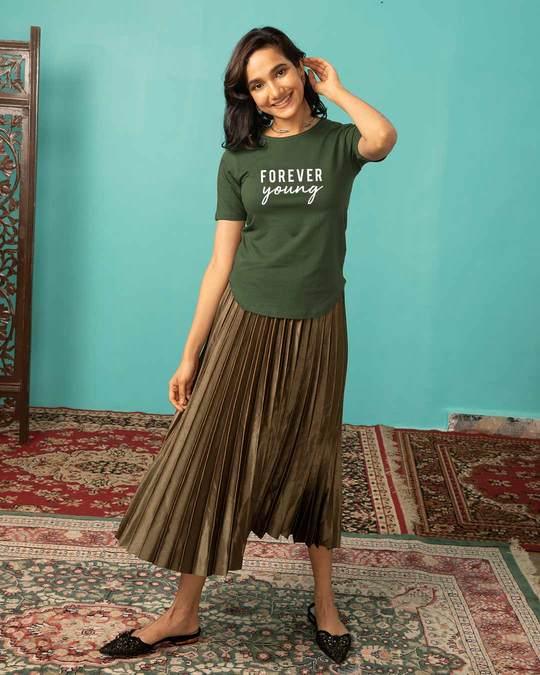 Shop Forever Young Basic Round Hem T-Shirt