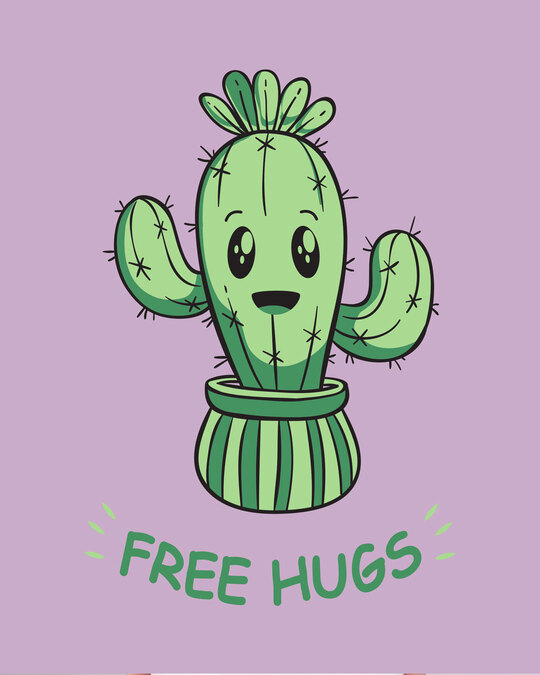 Shop Free Hugs Cactus Round Neck 3/4th Sleeve T-Shirt