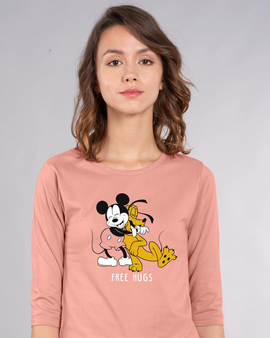 Shop Free Hugs- Mickey Round Neck 3/4th Sleeve T-Shirt (DL)-Front