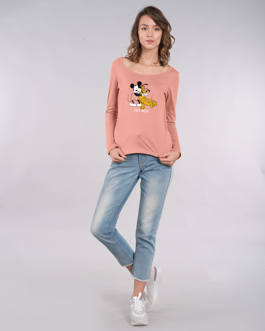 Shop Free Hugs- Mickey Scoop Neck Full Sleeve T-Shirt (DL)-Design