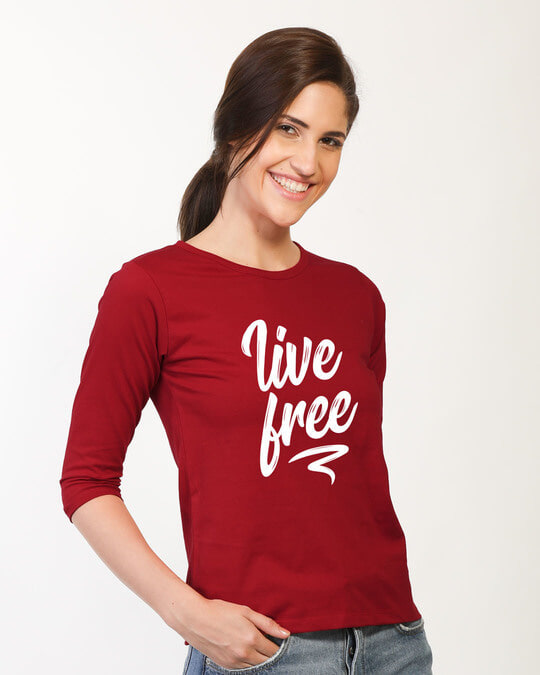 Shop Free Living Round Neck 3/4th Sleeve T-Shirt-Back