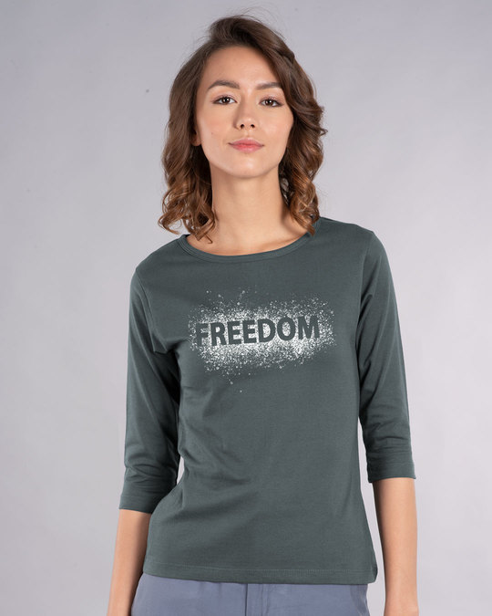 Shop Freedom Splatter Round Neck 3/4th Sleeve T-Shirt-Front
