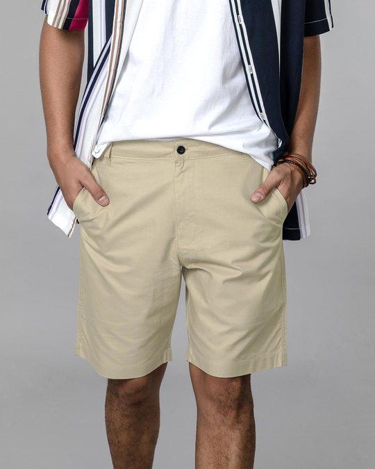 Shop French Beige Lightweight Slim Oxford Shorts-Back