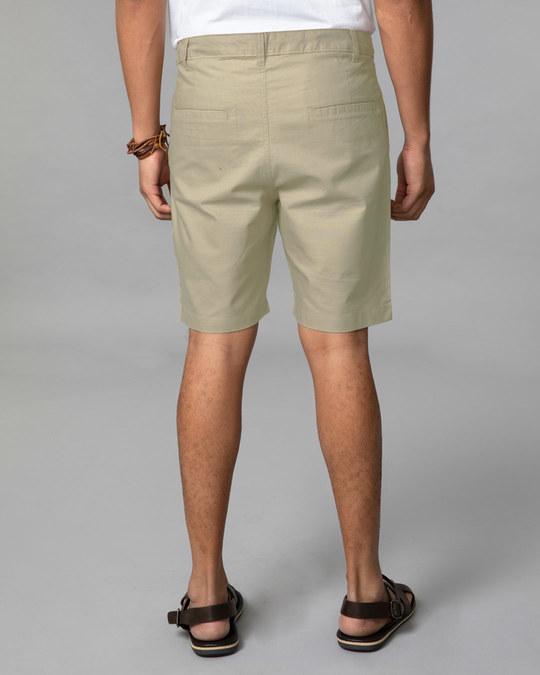 Shop French Beige Lightweight Slim Oxford Shorts-Full