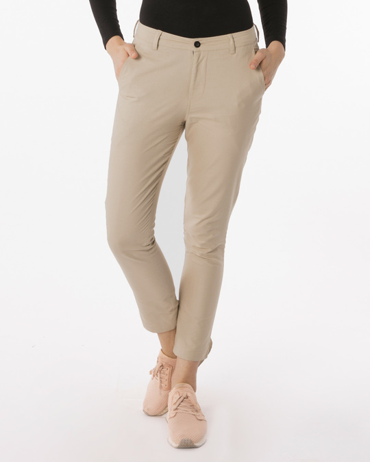 Shop French Beige Lightweight Slim Oxford Pants-Front