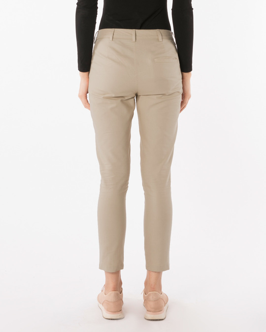 Shop French Beige Lightweight Slim Oxford Pants-Design